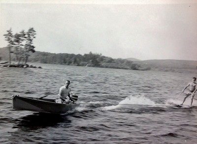 Charles Stone taking a camper Aquaplaning, with the Mercury outboard
