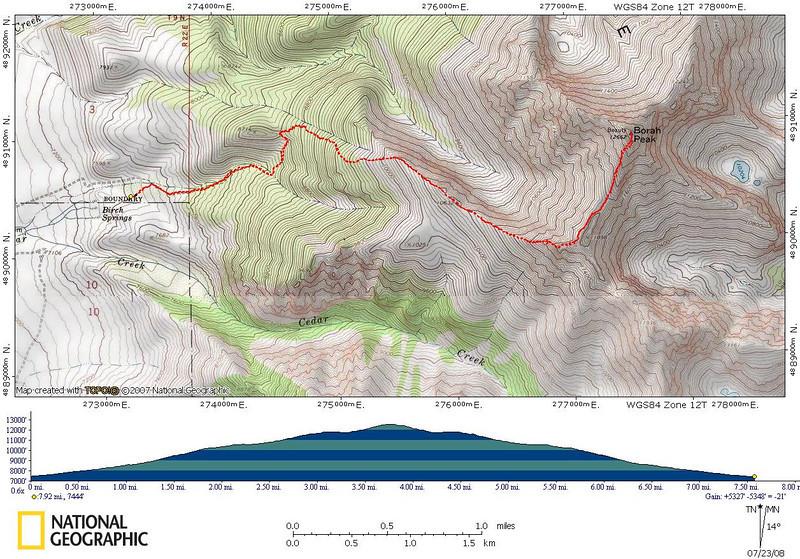 The GPS track from my hike up Borah Peak.