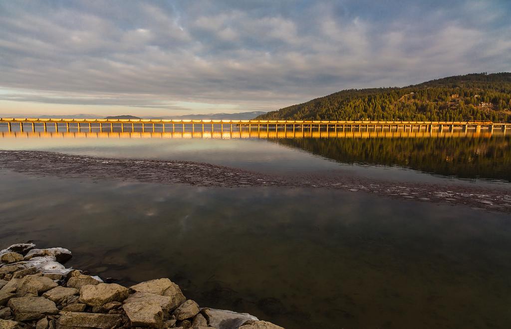 Train Reflection on Lake Pend Oreille
