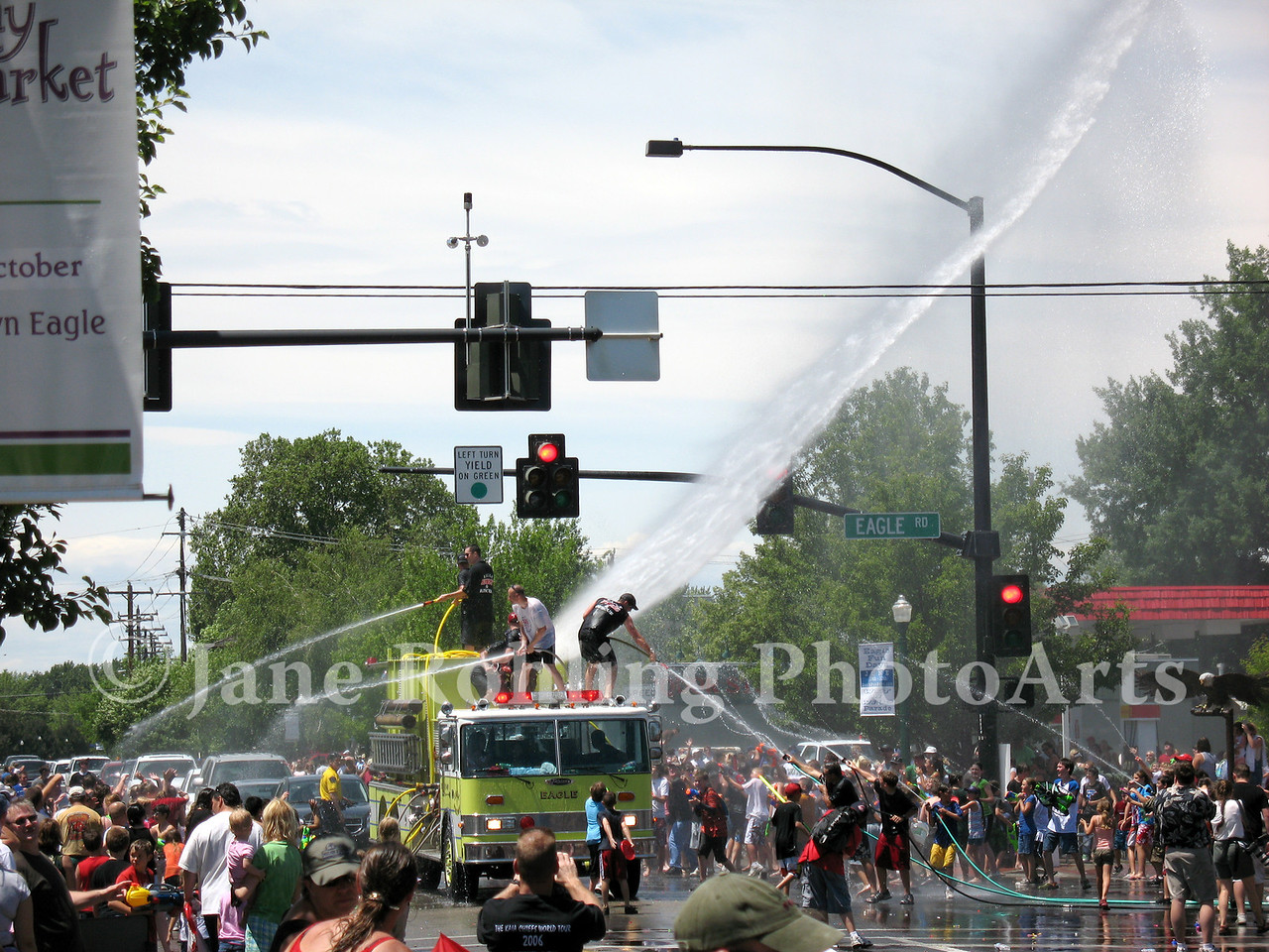 "The famous ""wet parade"" during Eagle Fun Days, Eagle, Idaho"