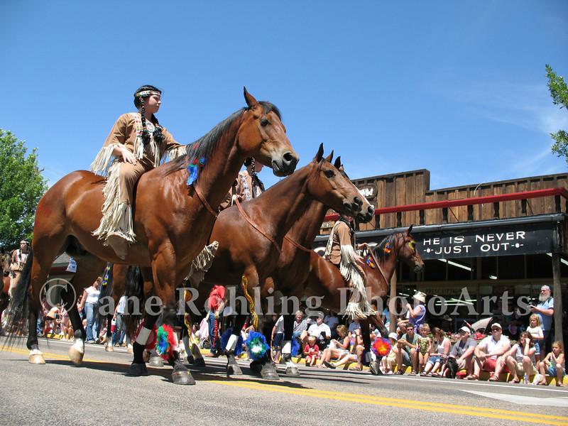 Bareback riders group in the Eagle Fun Days parade, Eagle, Idaho