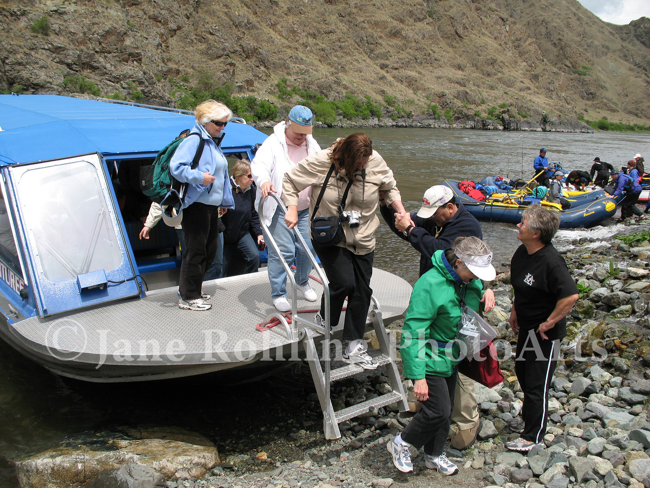 Whitewater jetboat and rafting groups at the mouth of Kirkwood Creek in Hells Canyon National Recreation Area, Snake River, Idaho.