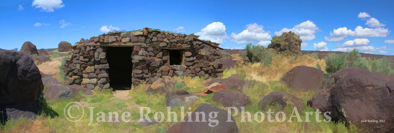 Old stone cabin on Halverson Bar east of Celebration Park in Canyon County, Idaho.