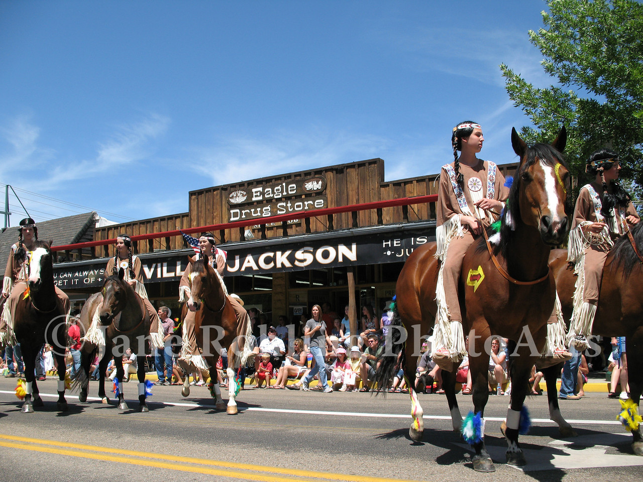 Bareback riders group in the Eagle Fun Days parade, Eagle, Idaho