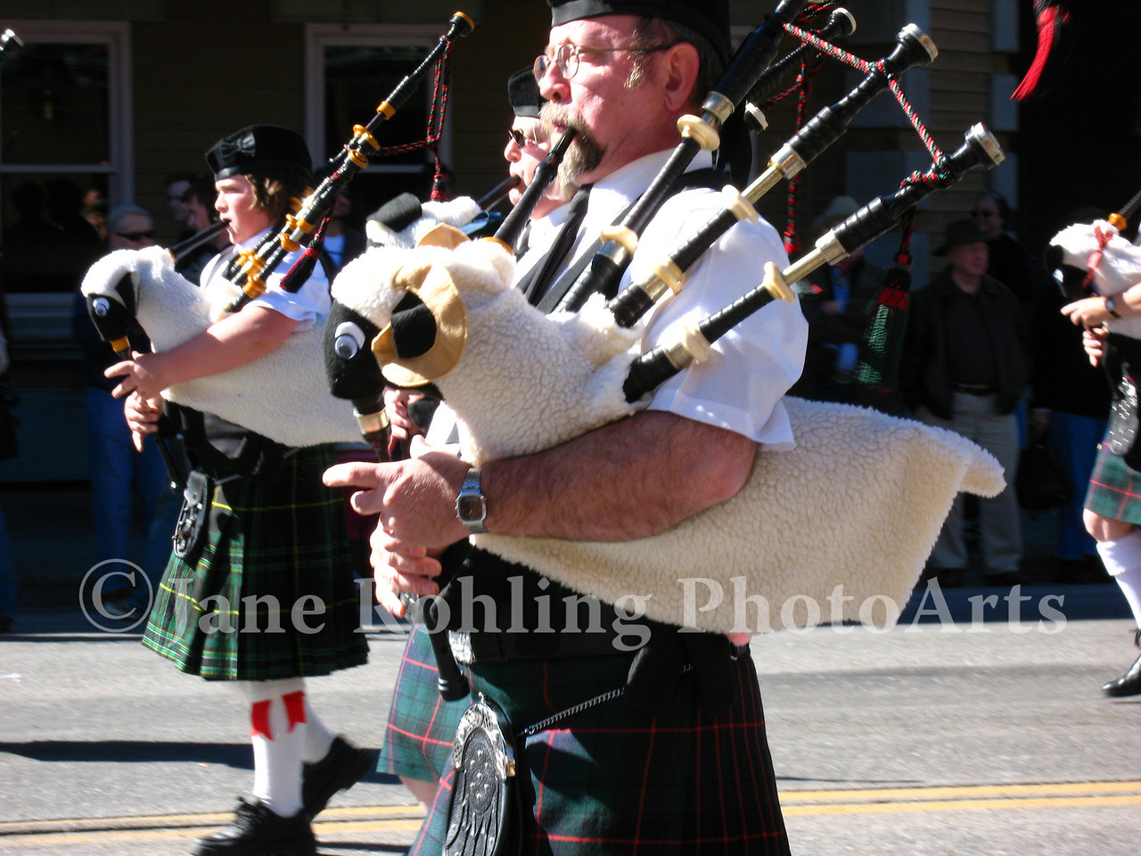 Bagpipers dress their instruments for the occasion during the Trailing of the Sheep Festival parade, Ketchum, Idaho.