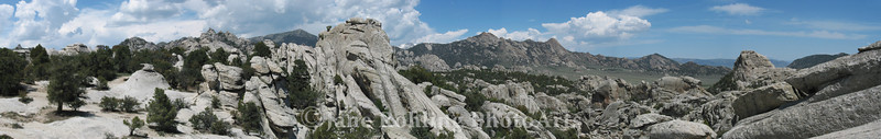A panoramic view of the City of Rocks National Reserve near Almo, Idaho.