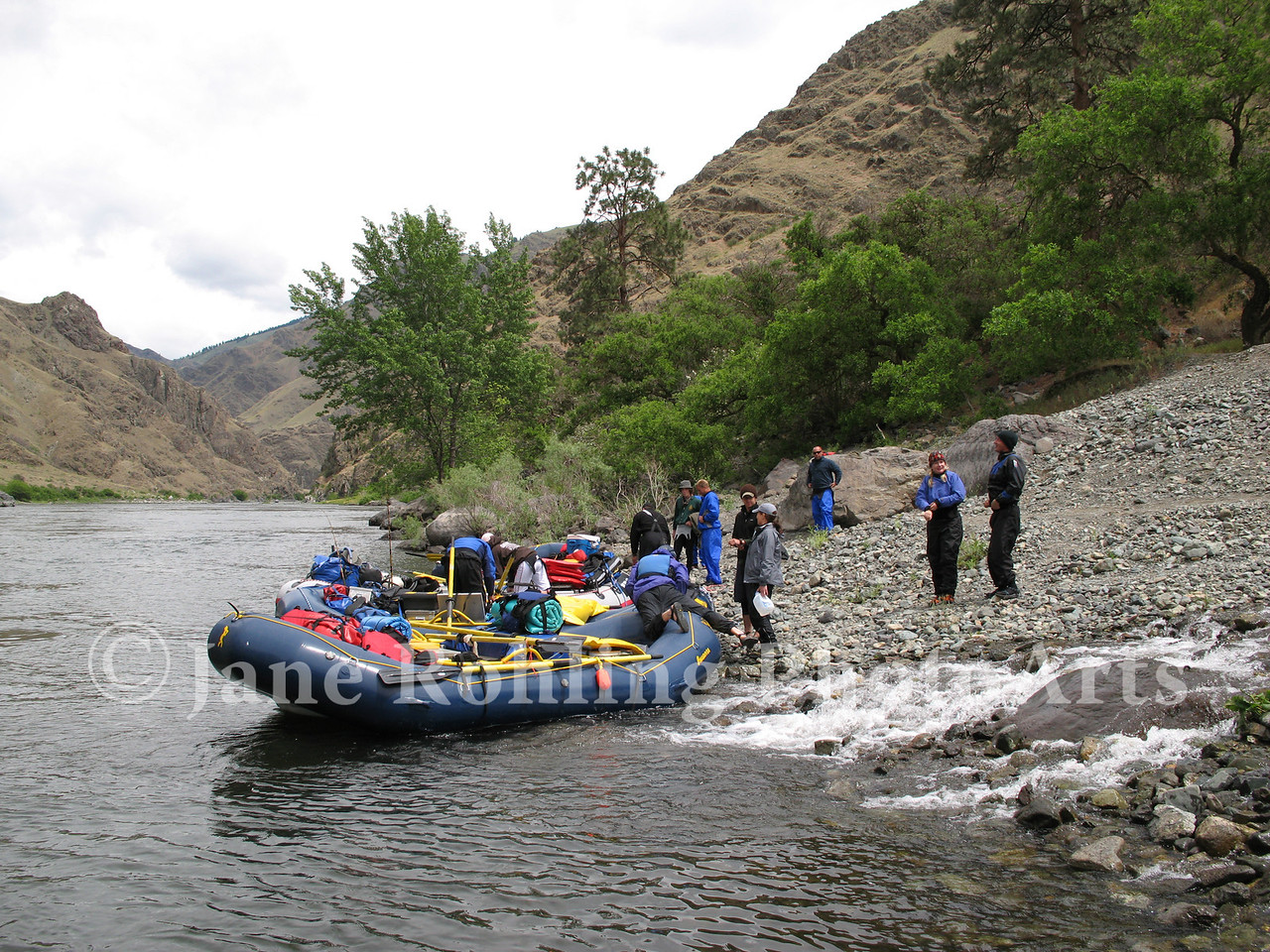 Whitewater rafters at the mouth of Kirkwood Creek in Hells Canyon National Recreation Area, Snake River, Idaho.