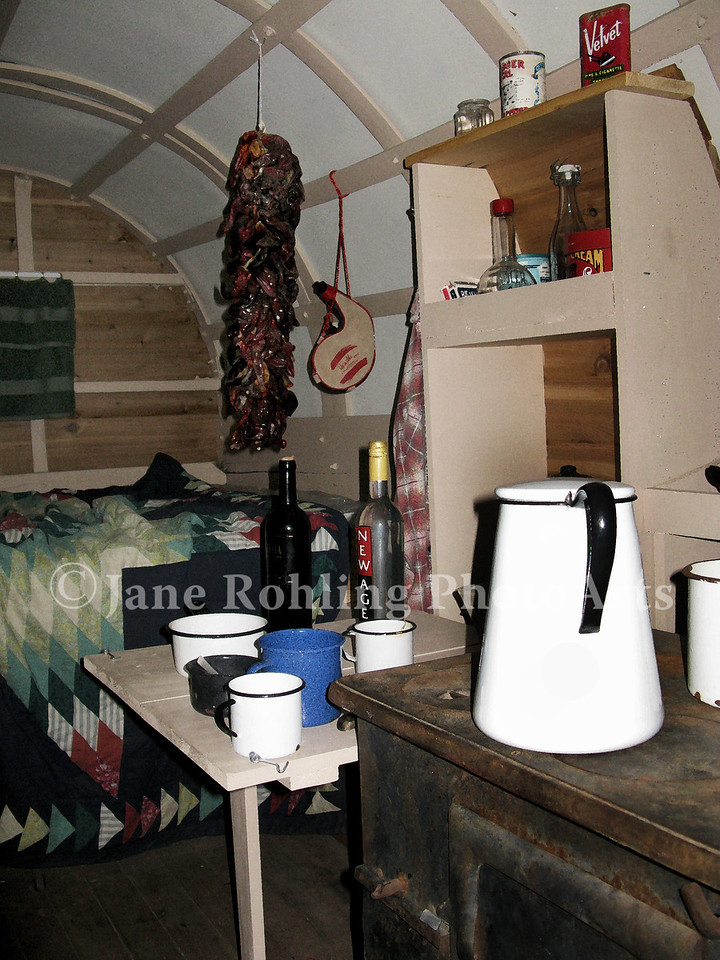 The interior of a traditional sheepherder's wagon.