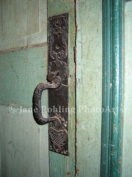 Door handle, abandoned school, Silver City, Idaho
