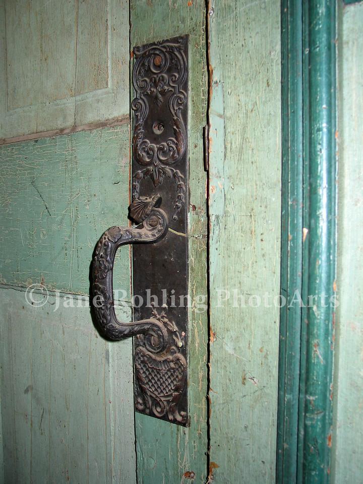 Door handle, abandoned school, Silver City, Idaho