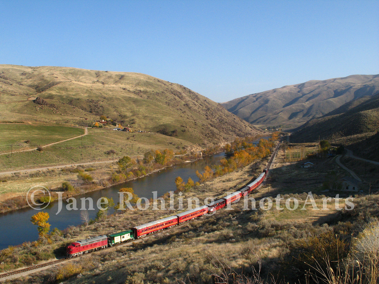 The Thunder Mountain Railroad along the Payette River near Horseshoe Bend, Idaho.
