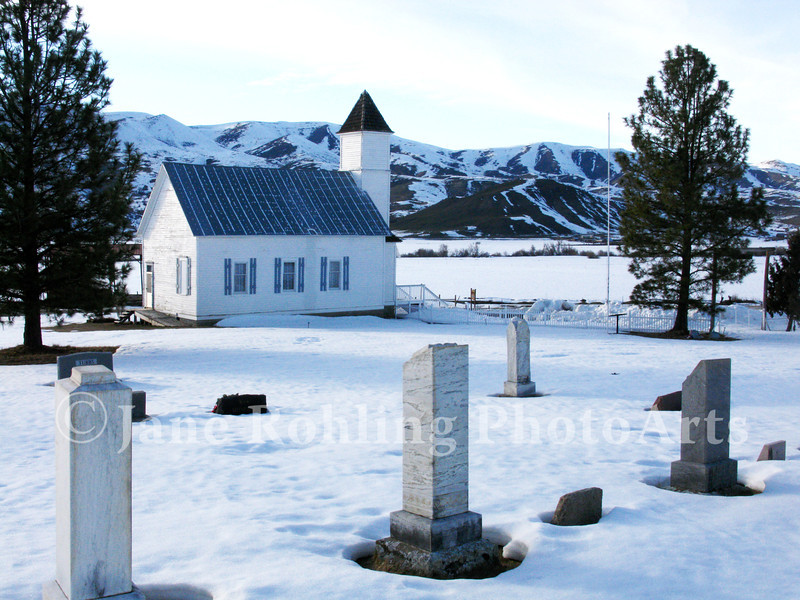 A country church and cemetery in rural Ola, Idaho.