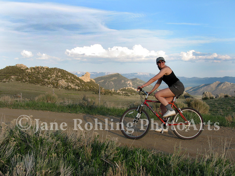 A mountain biker in the granite rocks of the City of Rocks Natural Reserve near Almo, Idaho.