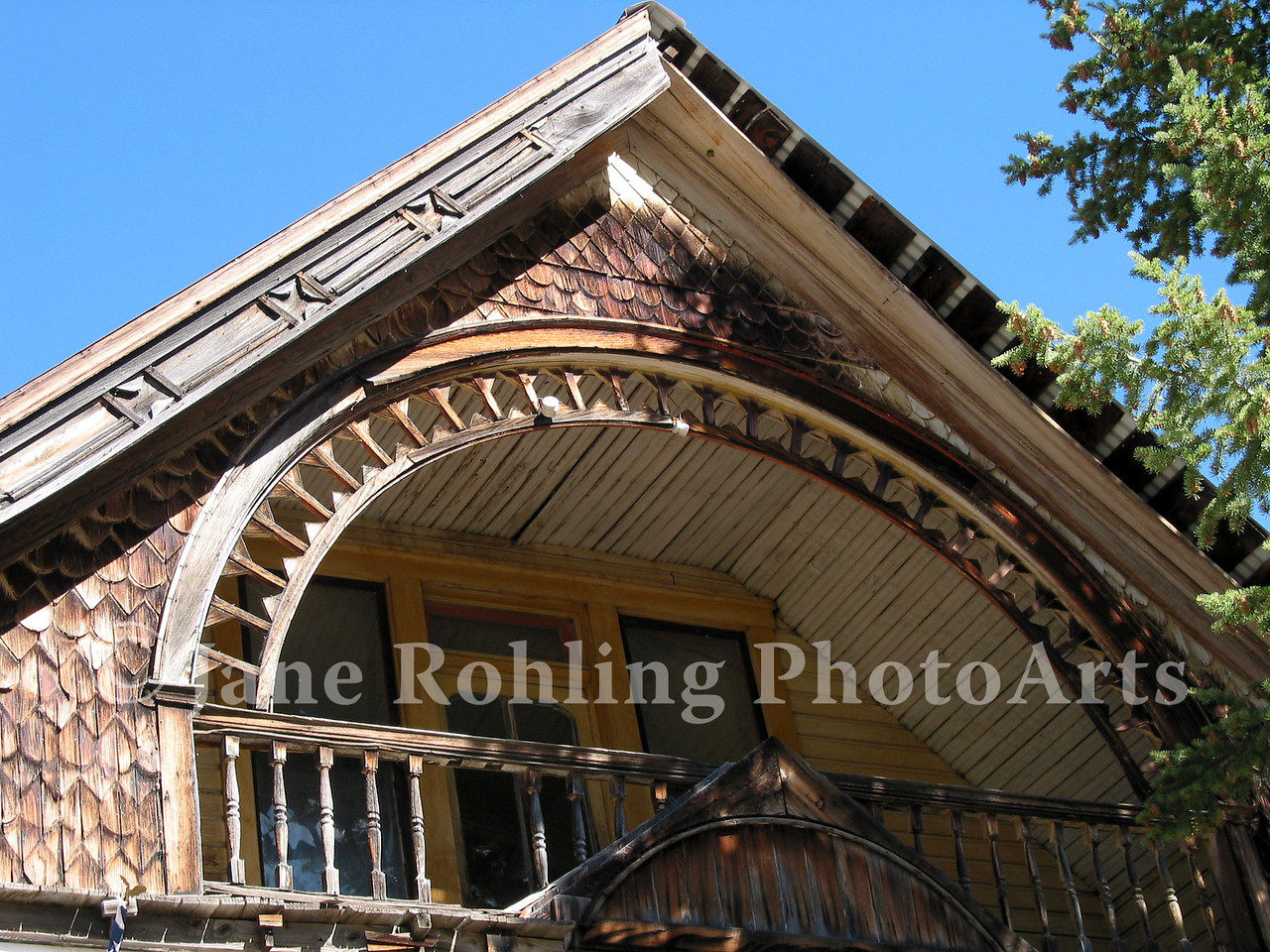 Upper porch of a home, Silver City, Idaho, Owyhee Mountains