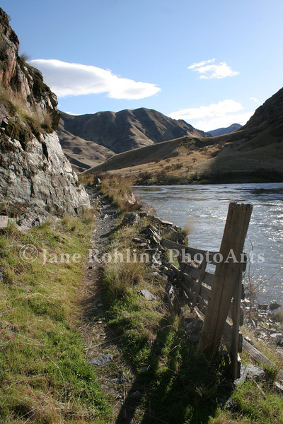 The Snake River Trail heading north (upriver) from Kirkwood Ranch along the Idaho side of the Snake River in Hells Canyon National Recreation Area.