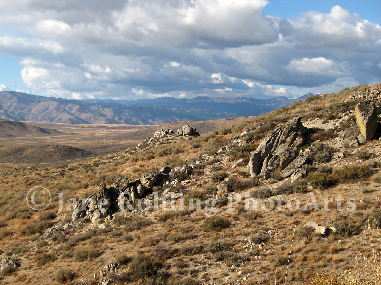 Granite outcrops in the landscape along Highway 20, Elmore County, Idaho.