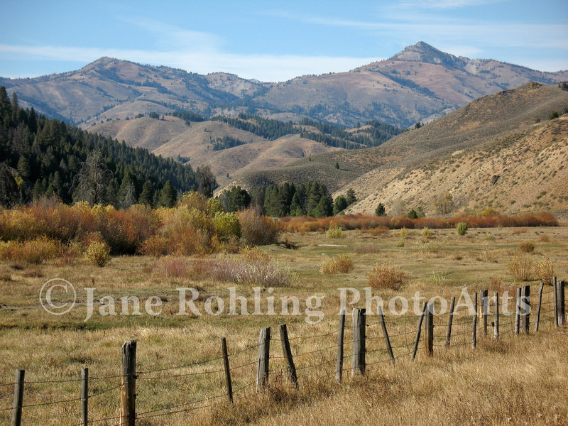 A pastoral landscape in the mountains near Featherville, Idaho.