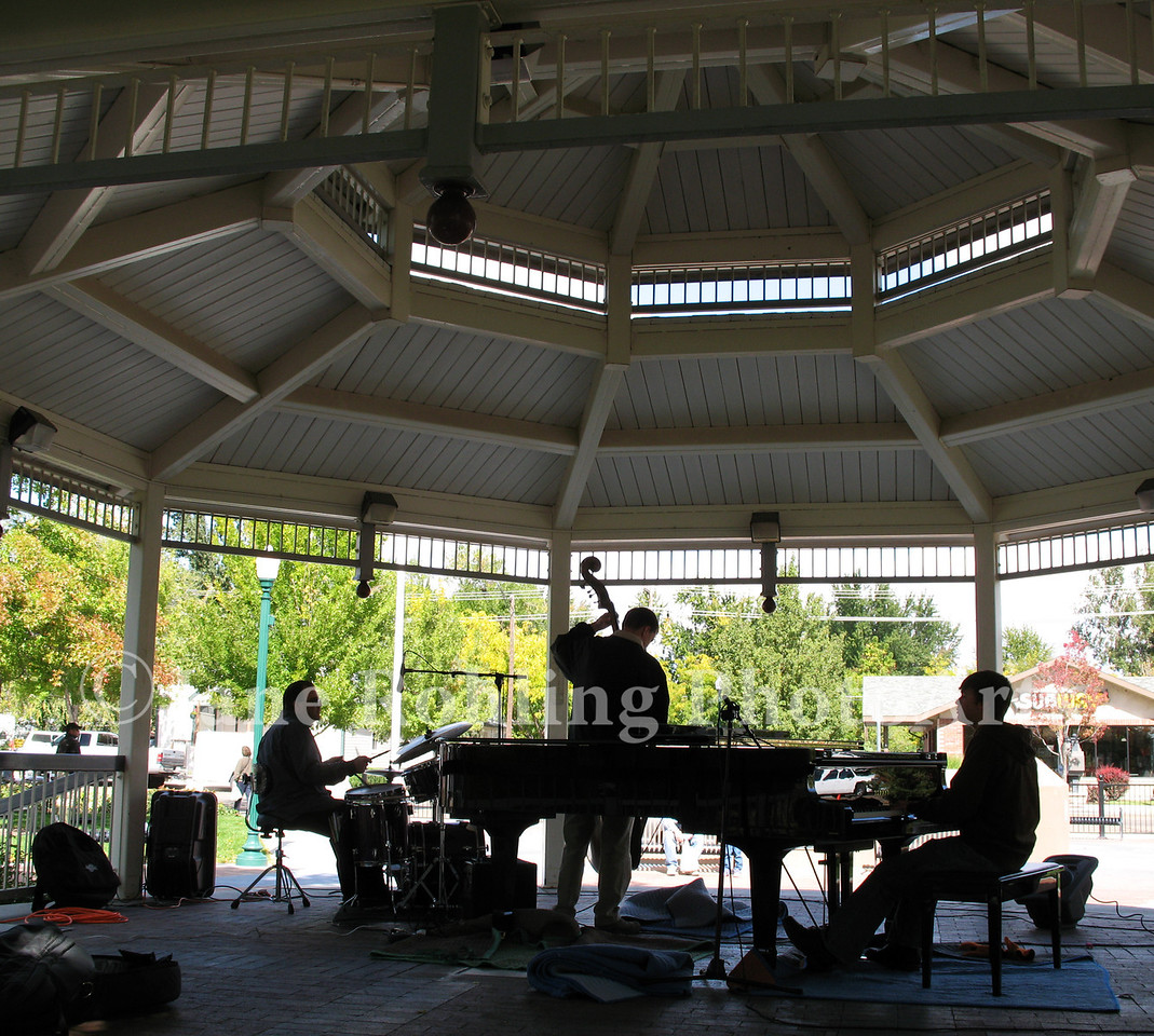 Jazz fills the gazebo in Heritage Park, Eagle, Idaho during the first Eagle Wine and Food Festival.
