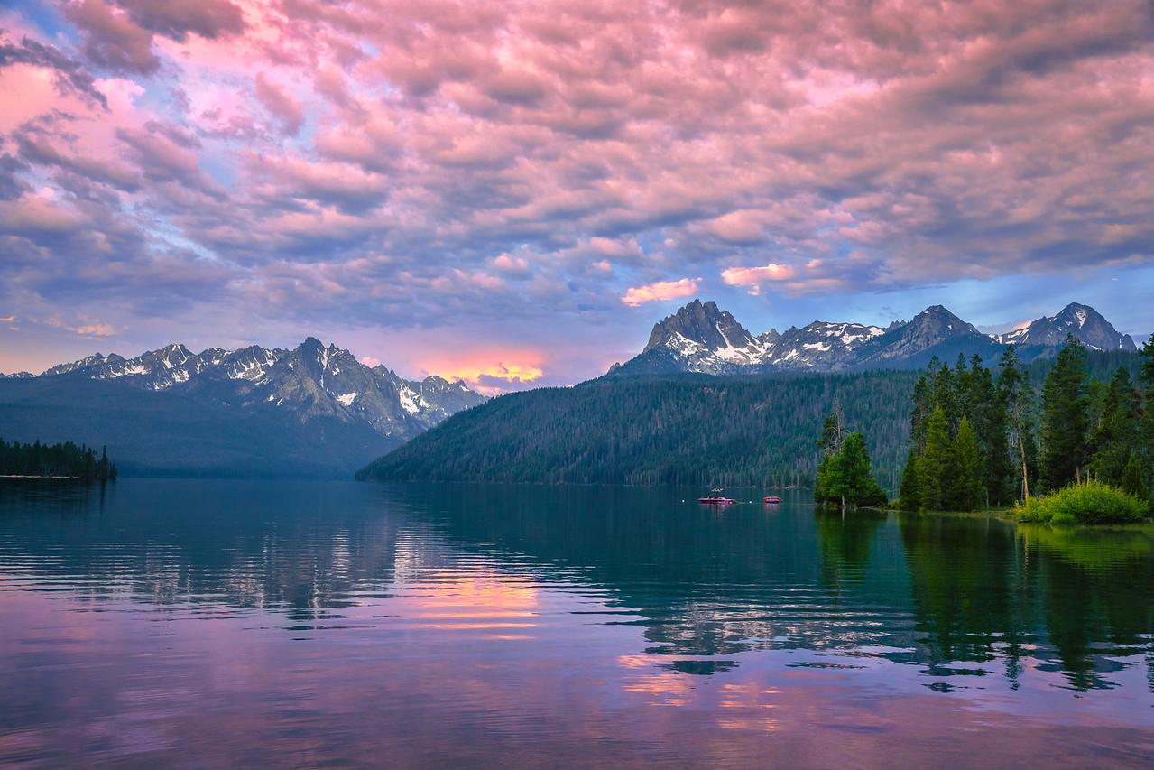Sunrise over Redfish Lake