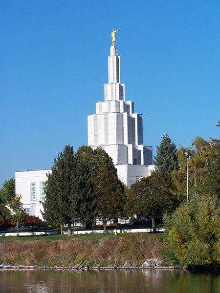 LDS Temple along the Snake River, Idaho Falls, Idaho. 9.08
