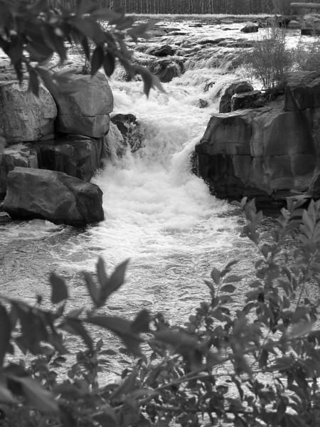 Waterfalls along the Greenbelt in downtown Idaho Falls, Idaho. Snake River.  9.08