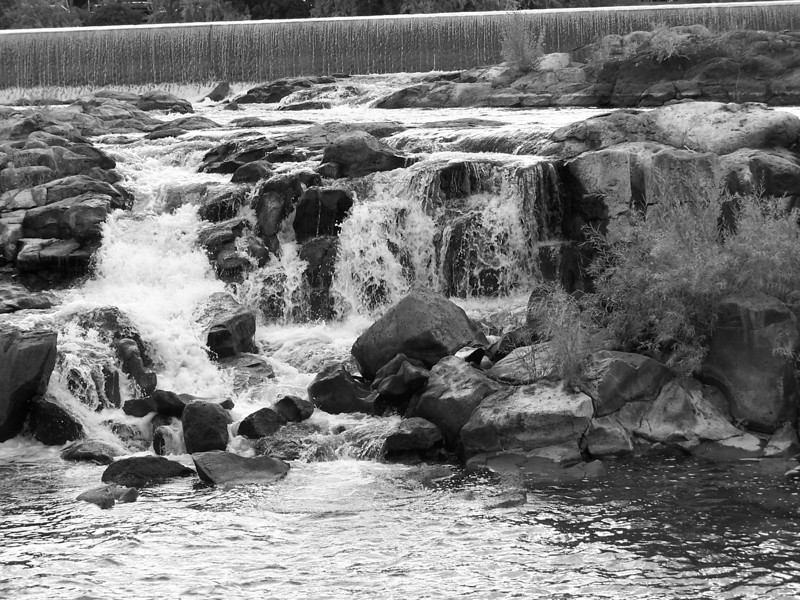 Waterfalls along the Greenbelt in downtown Idaho Falls, ID. Snake River. 9.08