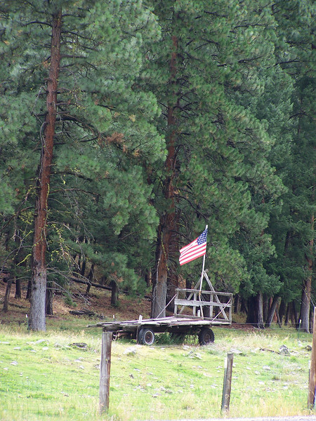 Labor Day tribute, flag on hay wagon, 9.2.08, near Salmon, Idaho.