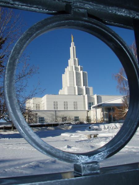 Idaho Falls LDS Temple, winter scene
