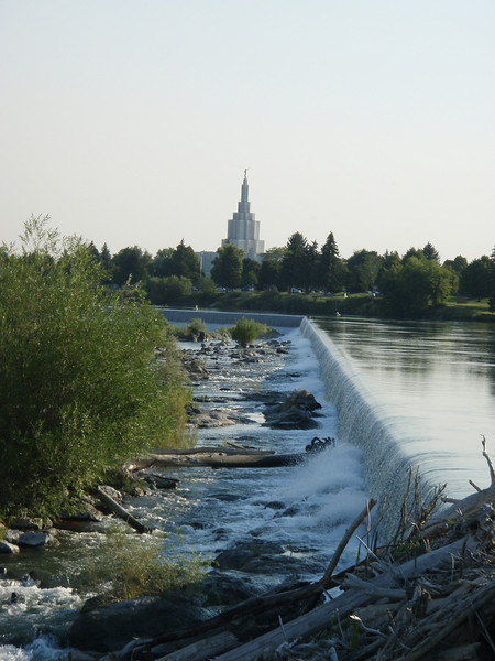 Idaho Falls, Idaho LDS Temple along the Snake River.