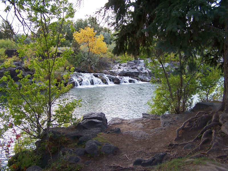 Waterfalls along the Greenbelt in downtown Idaho Falls, ID. Snake River. 9.08