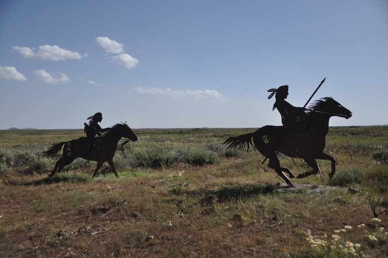 Silhouettes marking the 1877 Camas Meadow Battle, near Kilgore, Idaho. 8.1.10