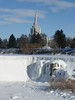 View of Idaho Falls LDS Temple along frozen Snake River