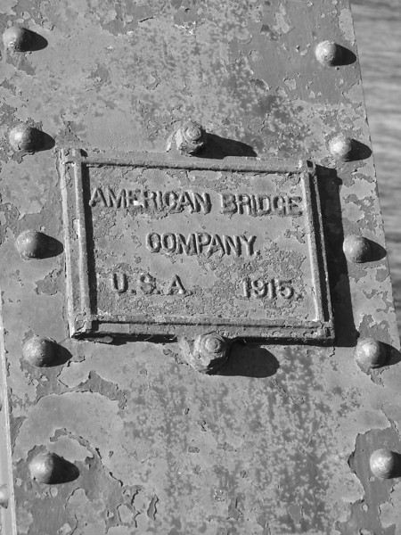 Sign on RR Bridge, American Bridge Company, USA 1915.