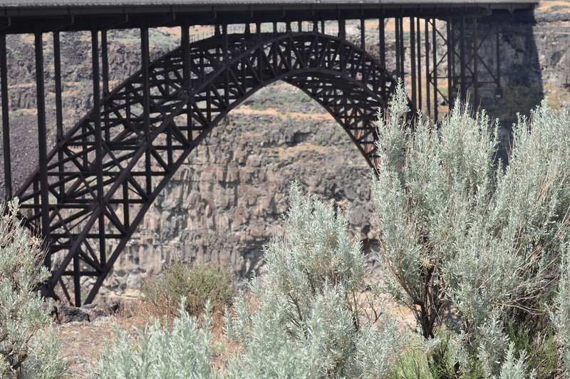 I.B. Perrine Bridge over the Snake River, Twin Falls, Idaho. 1,500 feet (457 m) bridge length. Clearance below 486 feet (148 m). Perrine Bridge is the only man-made structure in the United States where BASE jumping is allowed year-round without a permit.edited. 6.09