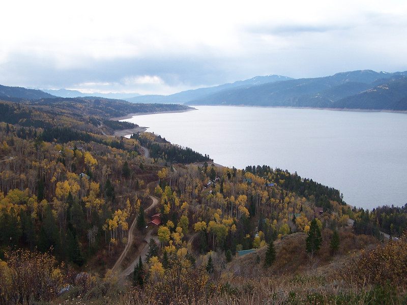View of Palisades and the surrounding autumn color. Idaho. 10.20.08