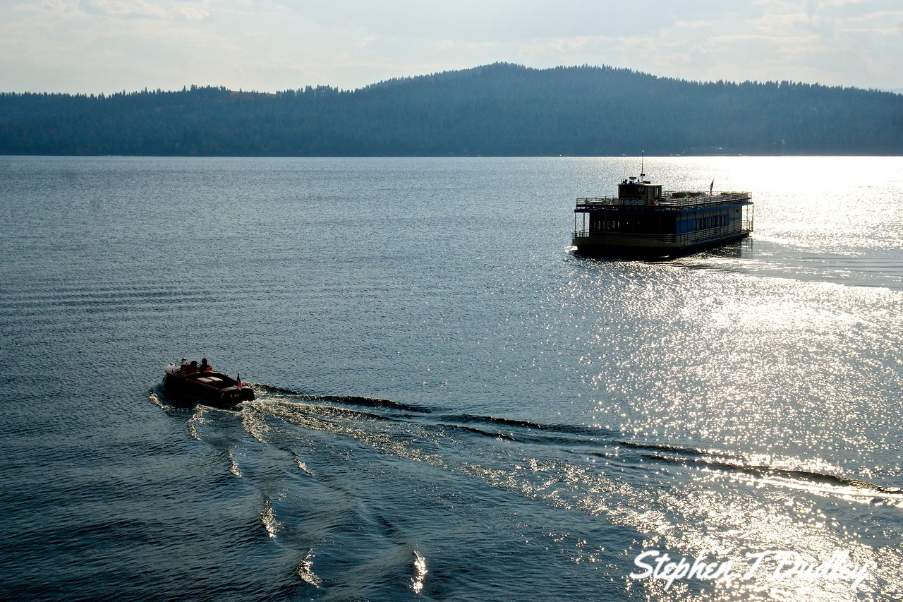 Wooden boat & tour boat, Lake CDA