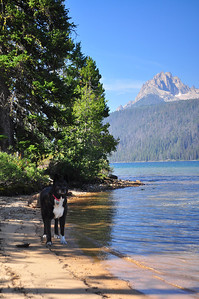 Madi along the beach  at Redfish Lake, Sawtooth Mountains, near Stanley, Idaho. 8.12.