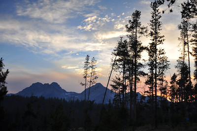 Redfish Lake at dusk, Sawtooth Mountains, near Stanley, Idaho. 8.12.  slightly smokey from Halstead fire which was caused by a lightning strike just a few days before our arrival.