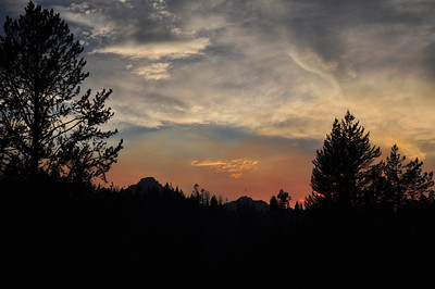 Sunset on the Sawtooth peaks near Redfish Lake, Sawtooth Mountains, near Stanley, Idaho. 8.12.  slightly smokey from Halstead fire which was caused by a lightning strike just a few days before our arrival.