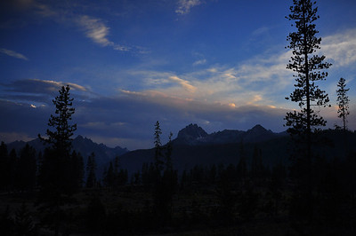 Sawtooth Mountains surrounding Redfish Lake at dusk, Sawtooth Mountains, near Stanley, Idaho. 8.12.  slightly smokey from Halstead fire which was caused by a lightning strike just a few days before our arrival.