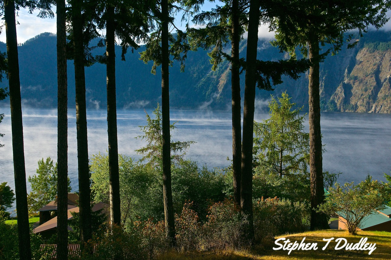 Morning fog over Pend Oreille, from our backyard