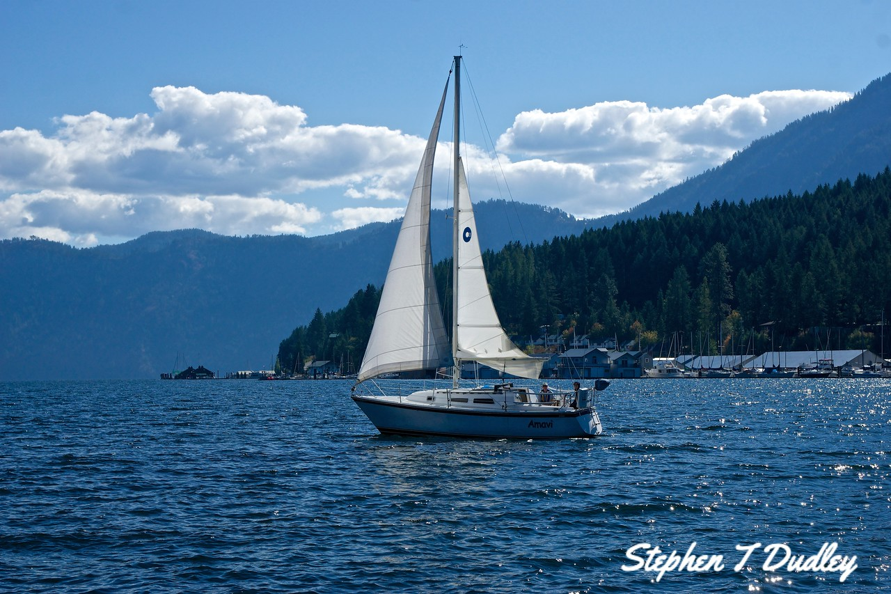 Sailboat in Scenic Bay, Lake Pend Oreille