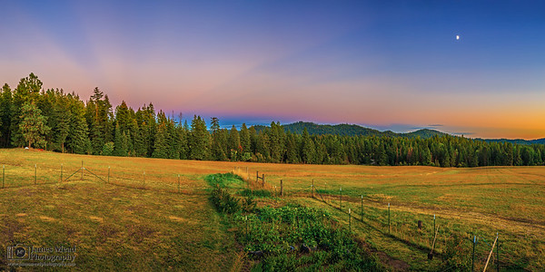"""Pastel Pastures,"" Sunset - Moonrise over the Pasture, Harrison Idaho"