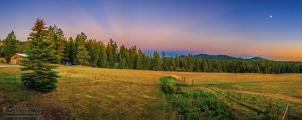 """Home on the Range,"" Sunset - Moonrise over the Pasture, Harrison Idaho"