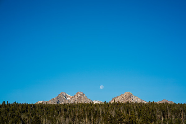 Moon and Mountains / Stanley, Idaho