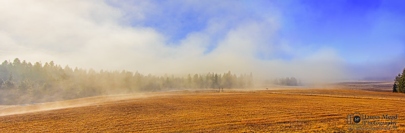 """Rising Mist,"" Morning fog and mist at sunrise in the pasture, Harrison, Idaho"