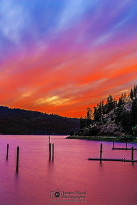 """Lake of Fire,"" Alpenglow after Sunset on Lake Coeur d'Alene, Harrison, Idaho"