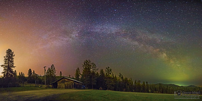 """Battle of the Lights,"" The Milky Way over the Farm, Harrison Idaho"