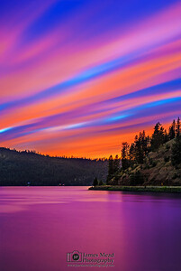 """Divine Harmony,"" Alpenglow at dusk over Lake Coeur d'Alene, Harrison, Idaho"
