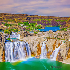 """Rainbow Belt,"" A mist rainbow over Shoshone Falls at Sunset, Twin Falls, Idaho"
